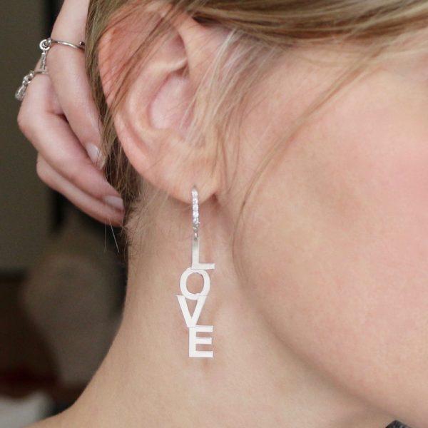 orecchino love Gialloro argento 925