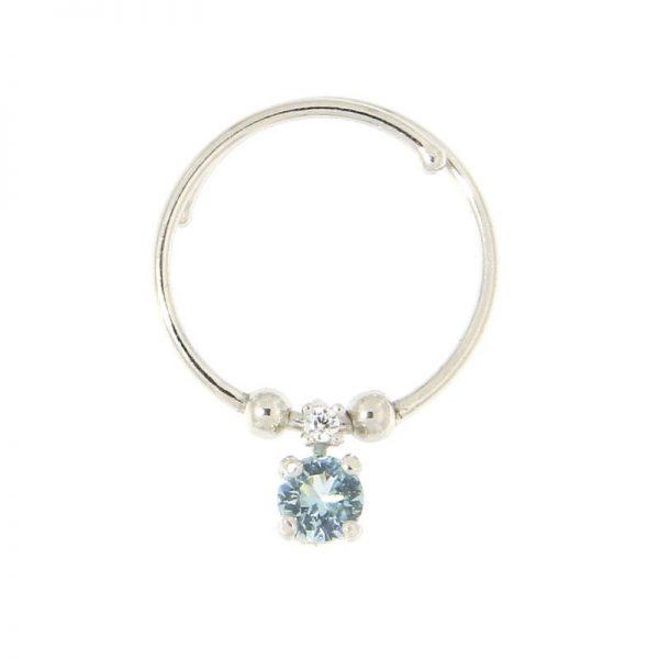 anello charm cristallo azzurro Argento 925