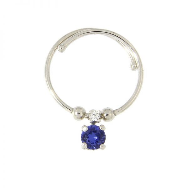anello charm cristallo blu argento 925