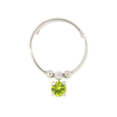 anello charm cristallo verde argento 925