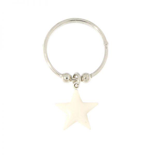 anello charm stella bianca