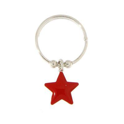 anello charm stella rossa smaltata