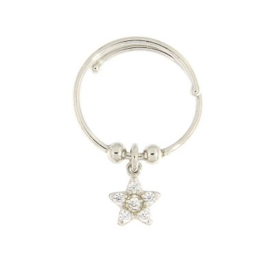 anello charm stellina argento 925 e zirconi