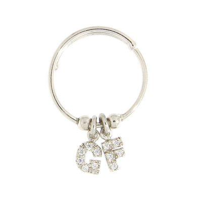 anello letterina doppia argento 925