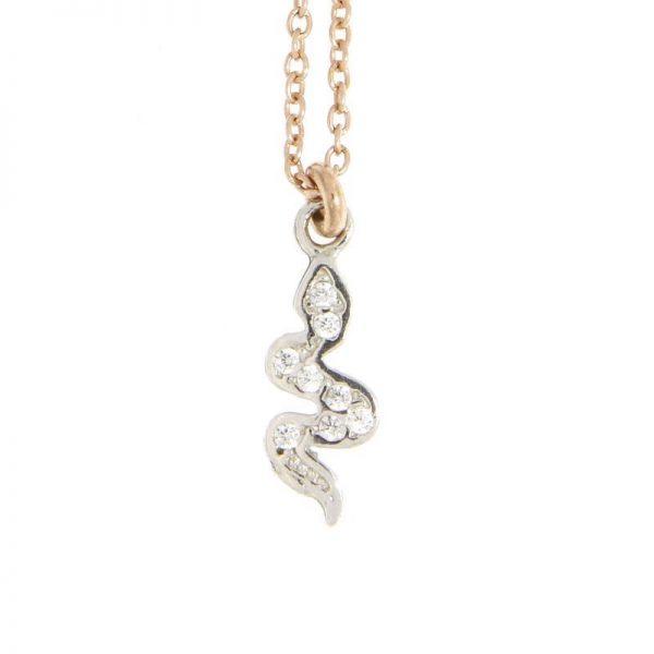 collana charm serpente dorata rosa