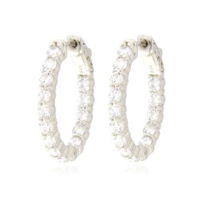 orecchini cerchio ovale piccoli argento 925 e zirconi