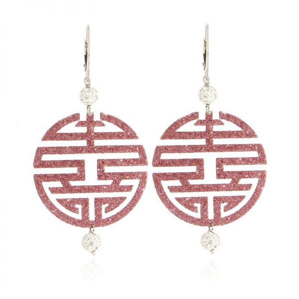 orecchini felicità glitter rosa A925
