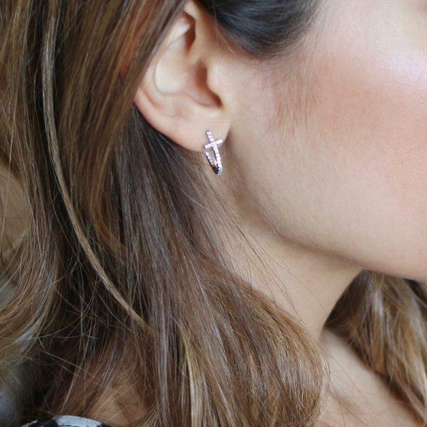 orecchini croce semicerchio argento 925