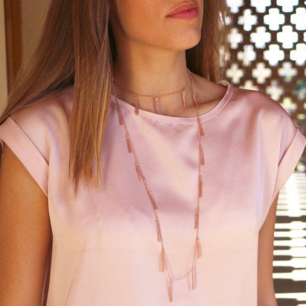 collana nappine quarzo rosa indossata