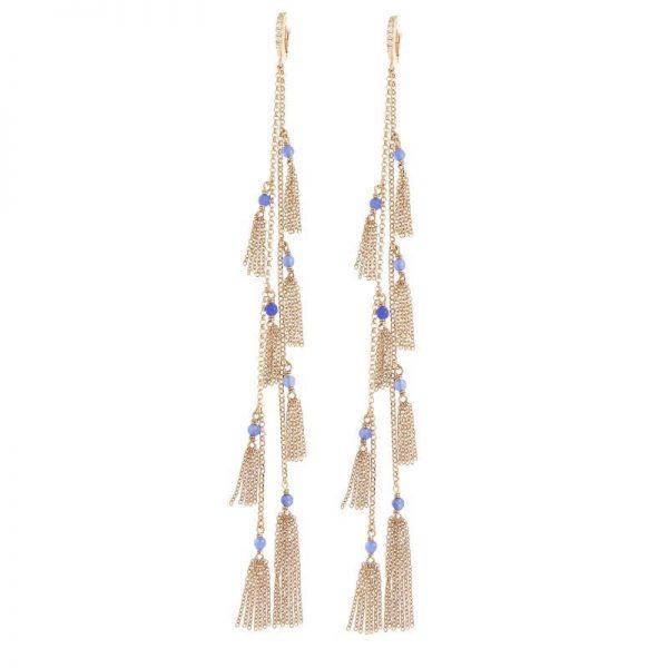 orecchini lunghi doppi nappine agata blu