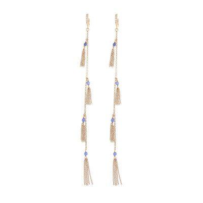 orecchini lunghi nappine agata blu