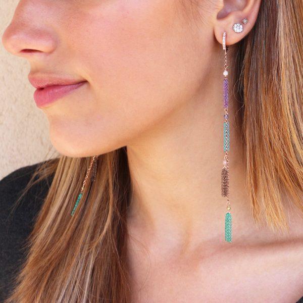 orecchini lunghi nappine colorate Gialloro