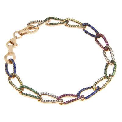bracciale catena multicolor rosa