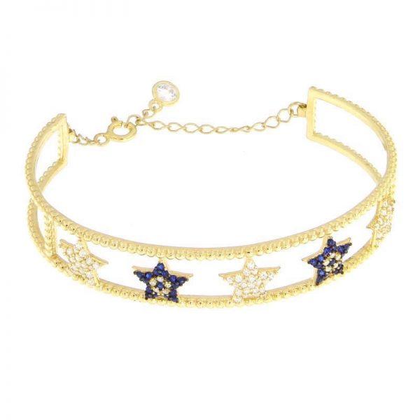 bracciale rigido stelle dorato