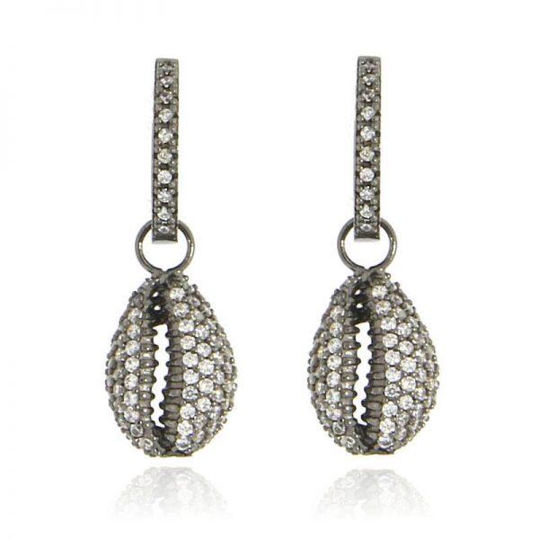 orecchini conchiglia rodio nero argento 925