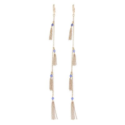 orecchini lunghi nappine agata blu argento 925 dorato rosa