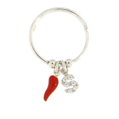 anello letterina cornetto portafortuna rosso