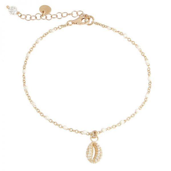bracciale rosario conchiglia dorato bianco
