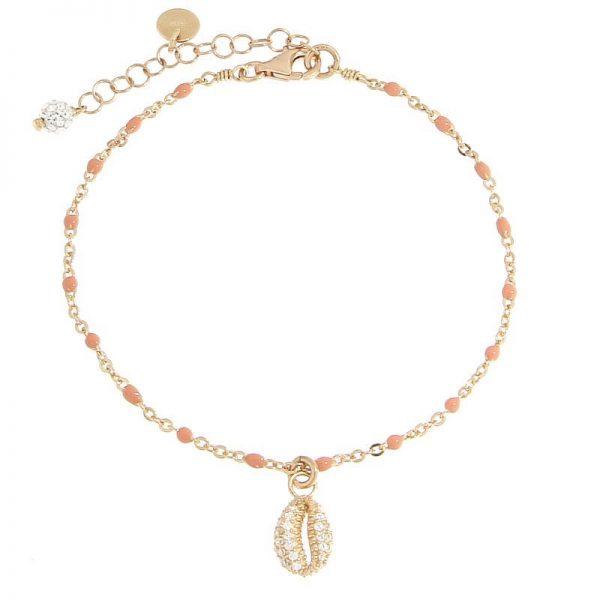 bracciale rosario conchiglia dorato rosa