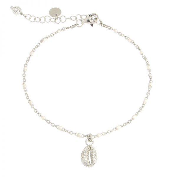bracciale rosario conchiglia rodio bianco