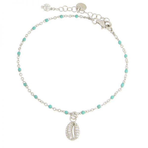 bracciale rosario conchiglia rodio turchese