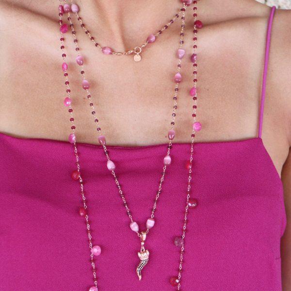 collana lunga rosario cornetto