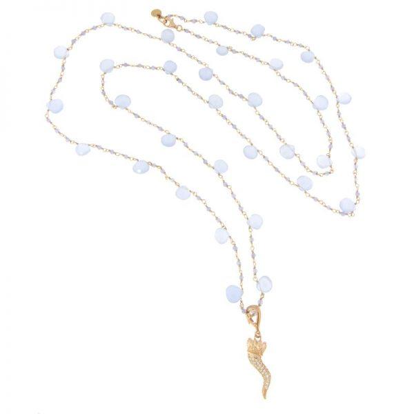 collana lunga rosario cornetto portafortuna calcedonio celeste