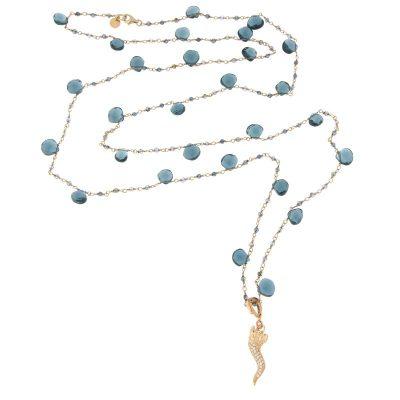 collana lunga rosario cornetto portafortuna london blue