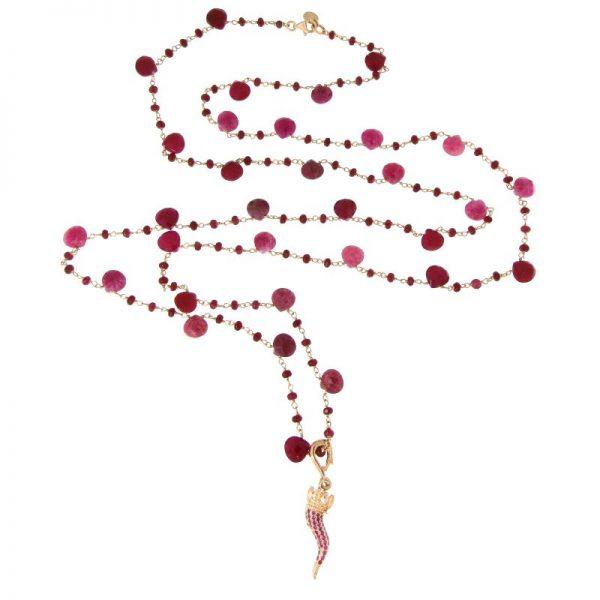 collana lunga rosario cornetto portafortuna radice di rubino