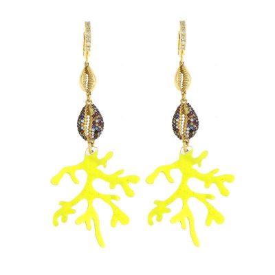 orecchini fluo conchiglie ramo corallo