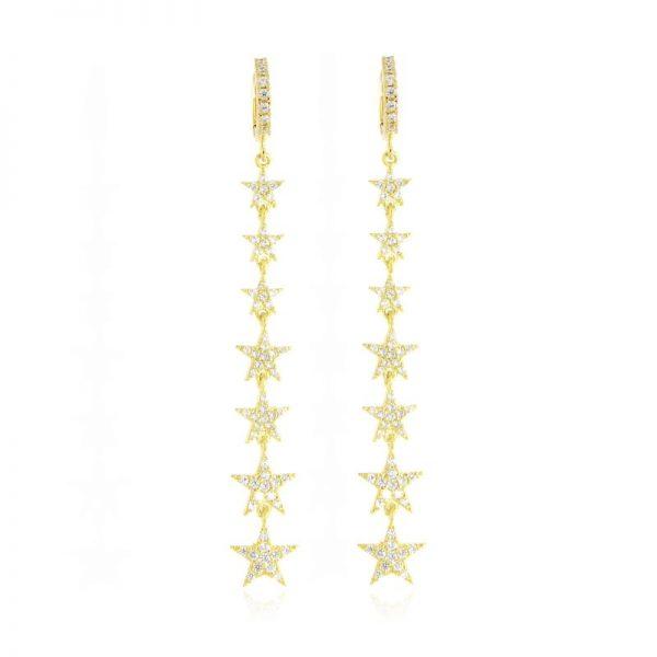 orecchini lunghi stelle dorati giallo