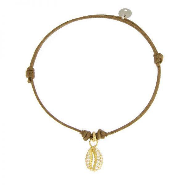 bracciale cordino conchiglia dorata