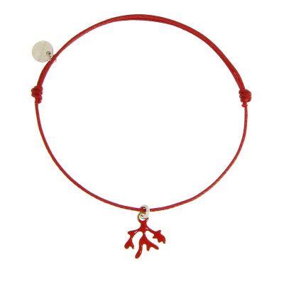 bracciale cordino rametto corallo rosso