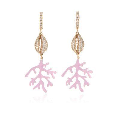 Orecchini conchiglia e ramo di corallo argento 925