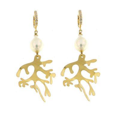 orecchini perle barocche e ramo di corallo