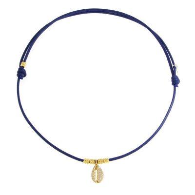 girocollo cordino conchiglia blu
