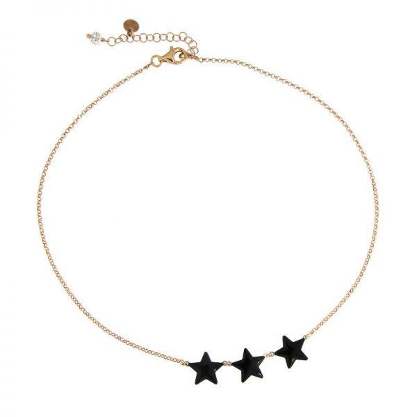 girocollo tre stelle smaltate nere