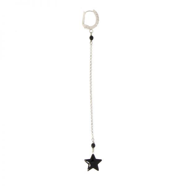 mono orecchino lungo stella smaltata nera