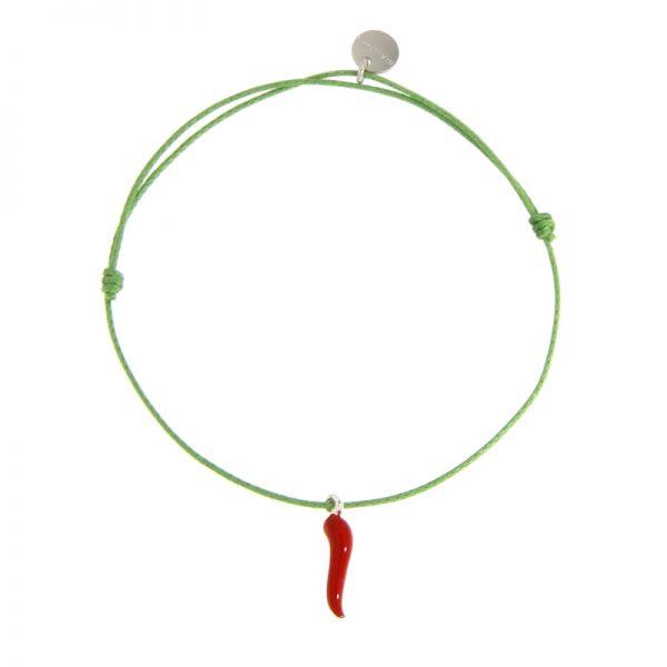 bracciale cornetto portafortuna verde