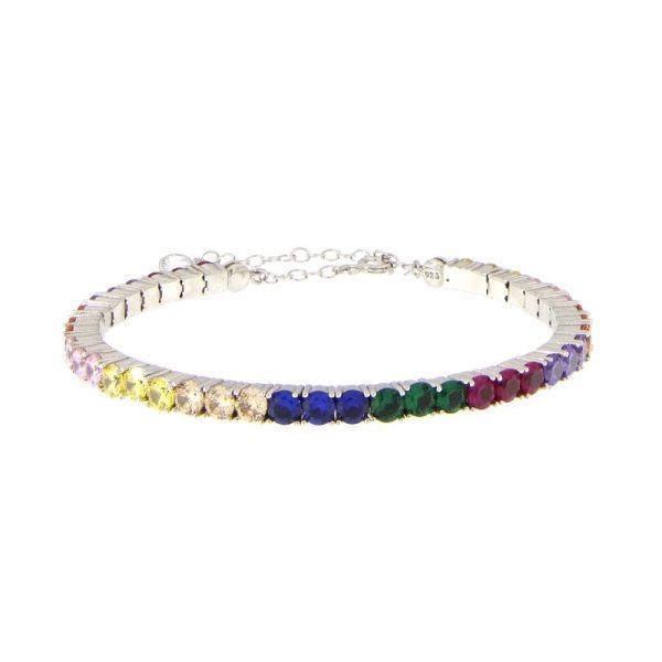 bracciale tennis semirigido multicolor