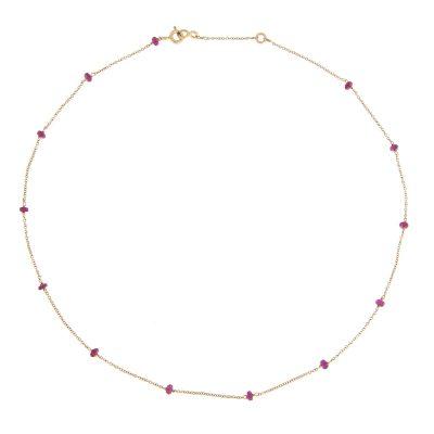 Girocollo in oro 18kt e zaffiri rosa