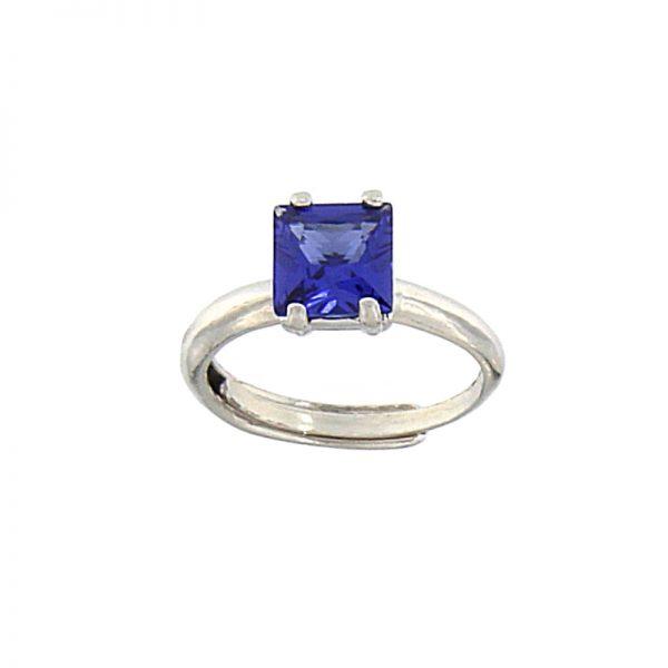 anello cristallo blu
