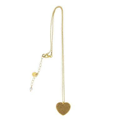 collana cuore glitter dorata