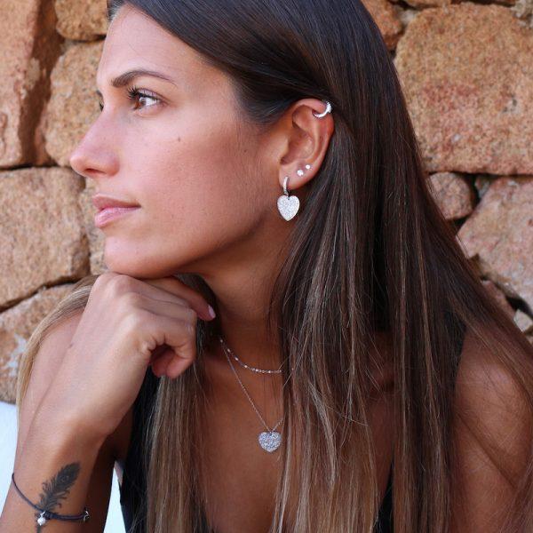 Cuore Glitter collana e orecchini