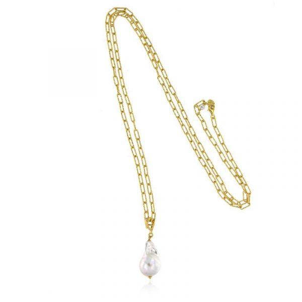 Collana lunga perla barocca dorata