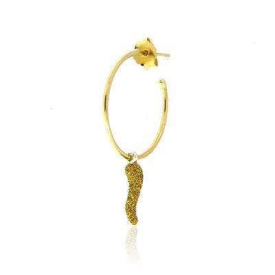 mono orecchino cerchio cornetto glitter Gialloro