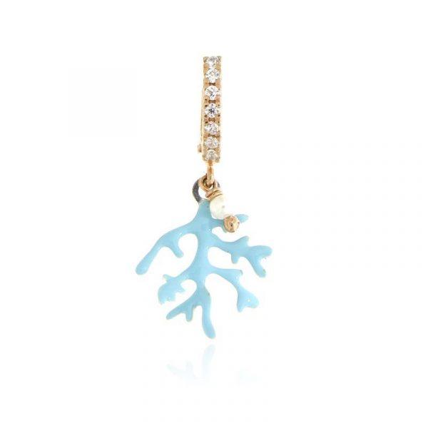 mono orecchino ramo corallo smaltato celeste