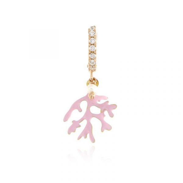 mono orecchino ramo corallo smaltato rosa