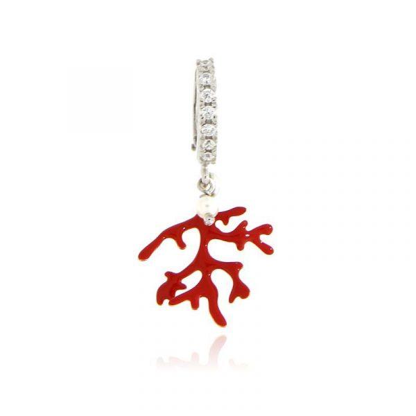 mono orecchino ramo corallo smaltato rosso