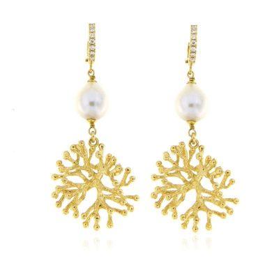 orecchini perla ramo corallo